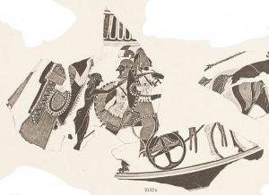 Attic black-figure lekanis lid with departure of Amphiaraos